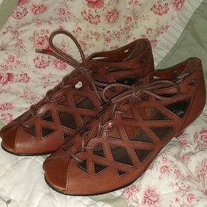 Coach and Four Laceup Gladiator Leather Sandles